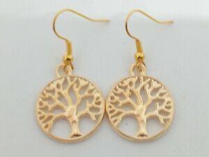 New Gold Tree Of Life Charm Drop/Dangle Earrings Kitsch Novelty Retro