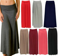 LADIES WOMENS FOLD OVER HIGH WAIST LONG PLEATED JERSEY MAXI GYPSY SKIRT UK 8-14