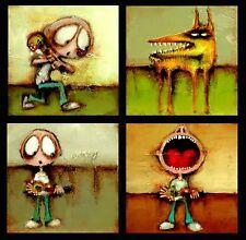 "MODERN ART - ORIGINAL ART - Set of FOUR Paintings 12"" x 12"" each - ART by SLAZO"