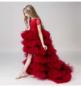Children's Girls Elegant Pageant Red Flower Dress Ball Gown DETACHABLE TRAIN