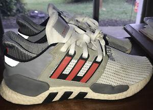 Used Adidas Originals EQT Adv 91/18 Boost Shoes White Gray Red Size 8.5 No Box