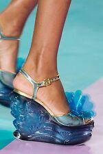 Miu Miu Floral Appliquéd Blue PVC Plexiglas Gold Leather 120MM Wedge Sandal 36.5