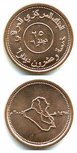 IRAQ 25 Dinars 2004 map 17mm copper plated steel coin BU UNC 1pcs