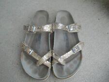 Womens Birkenstock tan/silver leather toe strap slides sandals sz 40