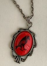 Lucky LooLoo silver red chain necklace CROW RAVEN BIRD pendant - GOTH STEAMPUNK