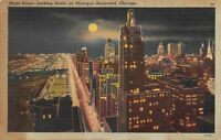 Chicago, Illinois Night Scene Looking South on Michigan Boulevard Vintage A03