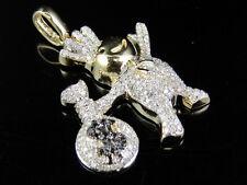 "10K Yellow Gold Real Diamond Pillsbury Dough Boy Money Bag Pendant 3/5 CT 1.3"""