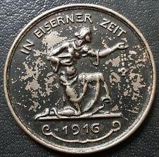 ✚8144✚ German WW1 Gold Donation Commemorative Iron Medal 1916 IN EISERNER ZEIT