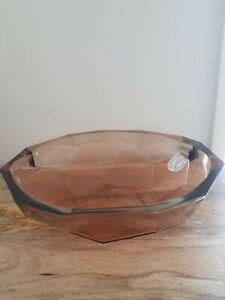 VIDRIOS SAN MIGUEL RECYCLED GLASS GEOMETRIC ORNAMENTAL BOWL PINK BRAND NEW