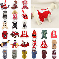 Pet Dog Warm Coat Christmas Printed Xmas Hoodie Sweater Clothes Winter Apparel