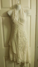 BCBG MAX AZRIA 100% SILK ASYMMETRICAL IVORY BEADED FLOWER HALTER DRESS 4