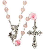 White Pink  Rosary with Rose Shaped Beads with Two Prayer Cards and Rosary Bag