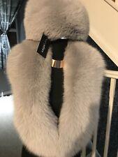 Real Blue Fox Fur Hat & Stole, Collar, Royal Sapphire