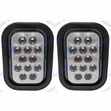 5x3 White Rectangle 12 Led Reverse Backup Truck Light Grommet Amp Pigtail Qty 2