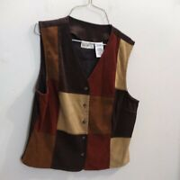 White Stag Mustang Brown Patchwork Vest Ladies Size M Medium Used VG