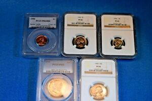 1950 US SILVER PROOF SET NGC/PCGS CERTIFIED PROOF SET PF-64RD/66/65/66/65!  #50