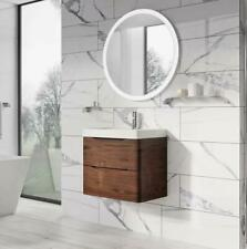 Cubico Envy 600mm Wall Mounted Vanity Unit with Drawers, Wood Brown