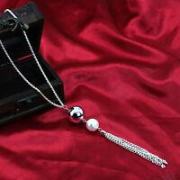 Women Fashion Jewelry Pearl Pendant Necklace Long Silver Tassel Sweater Chain