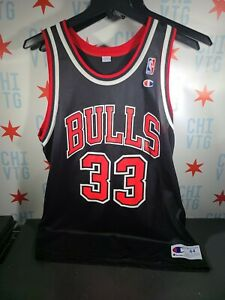 SCOTTIE PIPPEN Vintage Champion #33 Chicago Bulls NBA Jersey Size 44 Black Rare