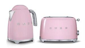 Smeg 2 Slice Toaster and Smeg 3D Logo Kettle, Pink.  New
