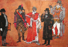1985 Large Modernist Gouache Painting Theatre Costumes Design Napoleon 1st Sign.