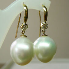 16mm! WHITE SOUTH SEA PEARLS UNTREATED+DIAMONDS+18ct SOLID Y GOLD EARRINGS +CERT