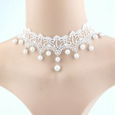 Fashion Women Gothic White Flower Lace Pearl Pendant Choker Necklace #zh
