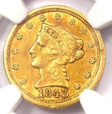 1843-C Liberty Gold Quarter Eagle $2.50 - NGC AU Details - Rare Charlotte Coin!