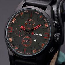 Curren Military Army Quartz Analog Sport Wrist Watch Date Fashion Black Leather