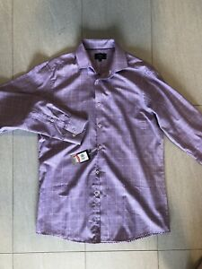New BLAQ Purple Check Shirt 41 93 Tailored Fit Extra Long Sleeve L Tall