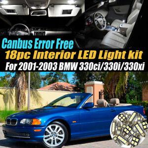 18Pc Error Free Interior LED White Light Kit for 2001-2003 BMW 330i ci xi