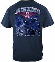 Law Enforcement ELITE BREED Police Fight Cancer T-Shirt 100% Cotton NAVY