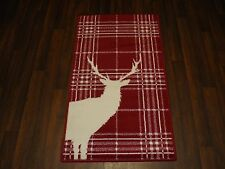 NICE QUALITY NOVELTY 60CMX110CM STAG CHECKS APROX 4X2FT WOVEN RUG/MAT RED/CREAM