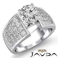 2.74ct Round Cut Diamond Engagement Invisible Set Ring GIA F SI1 14k White Gold