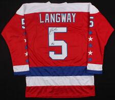 """Rod Langway Signed Capitals Captain Jersey Inscribed""""HOF 02""""(JSA) 500 NHL Goals"""