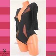 VS Victoria's Secret Lingerie 3/4 Sleeve Teddy Snap Crotch Bodysuit Mesh M Black
