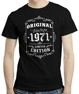 50th Birthday Gift idea, Born in 1971, Retro 50 Years Old T-shirt Tshirt Tee