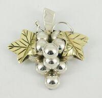 Vintage Mexico 925 Sterling Silver & Brass Grape Pendant / Brooch