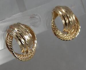 Estate 14 Karat Yellow Gold Diamond-Cut Multi Tube Hoop Post Earrings 14K J0511