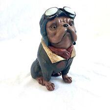"Bulldog Pilot Statue Aviator French English Pug Aviator Military 8"" Antiqued NEW"