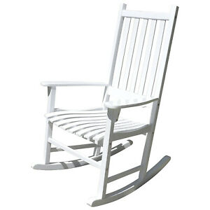 Northbeam Solid Acacia Hardwood Outdoor Patio Slatted Back Rocking Chair, White