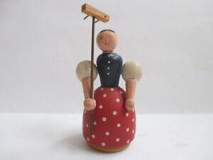 Vintage Dollhouse  Miniature Wooden Wood Arm Movable Lady w/ Rake Figurine