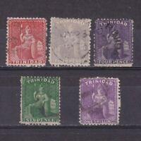 TRINIDAD 1863, SG# 69-73, CV £49, Wmk Crown CC, Perf 12½, Part set, Used