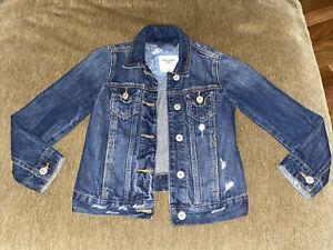 Abercrombie Kids Girls Jean Jacket Size 7/8 Dark wash Destructed Denim Jacket