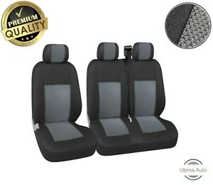 Premium Grey-Black Fabric 2+1 Seat Covers For Mitsubishi Fuso Canter Vw Caddy