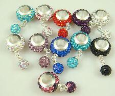 5pcs Gorgeous Czech Crystals Dangle Bead fit European Charm Bracelet Earrings m9