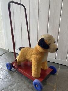 Vintage Retro Toy Dog On Wheels