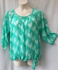 Target Size 18-20 Blouse Top NEW 3/4 Sleeve Green White Work Casual Evening