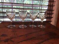 4 Antique Colonial America Flint Honeycomb 2 Oz Cordial Glasses RARE