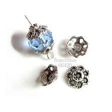 20 Caps calottes coupelles argenté 9x9x4 mm Perles apprêts création  bijoux A212